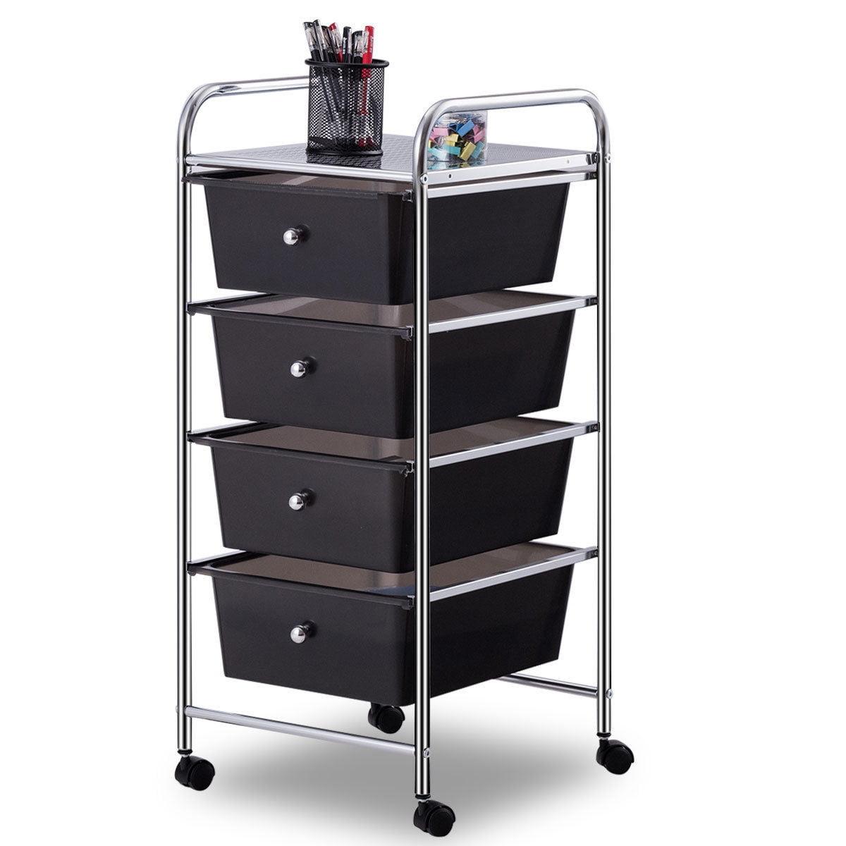 Costway 4 Drawers Metal Rolling Storage Cart Scrapbook Supply & Paper Home Office