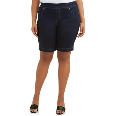 Pull On Woven Shorts - Terra & Sky Women's Stretch Denim Pull-On 2 pocket Short