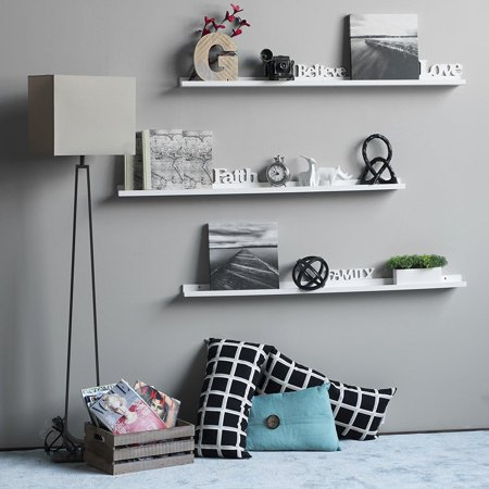 Ktaxon Floating Picture Display Ledge Wall Mount Shelf Modern Design White