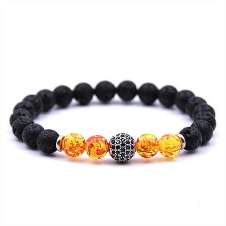 SHOPFIVE Classical Natural Stone Amber Bracelet Men and Women Lava Stone Beads Bracelet Black CZ Ball Charm Bracelets (Pandora Black Charm Bracelet)
