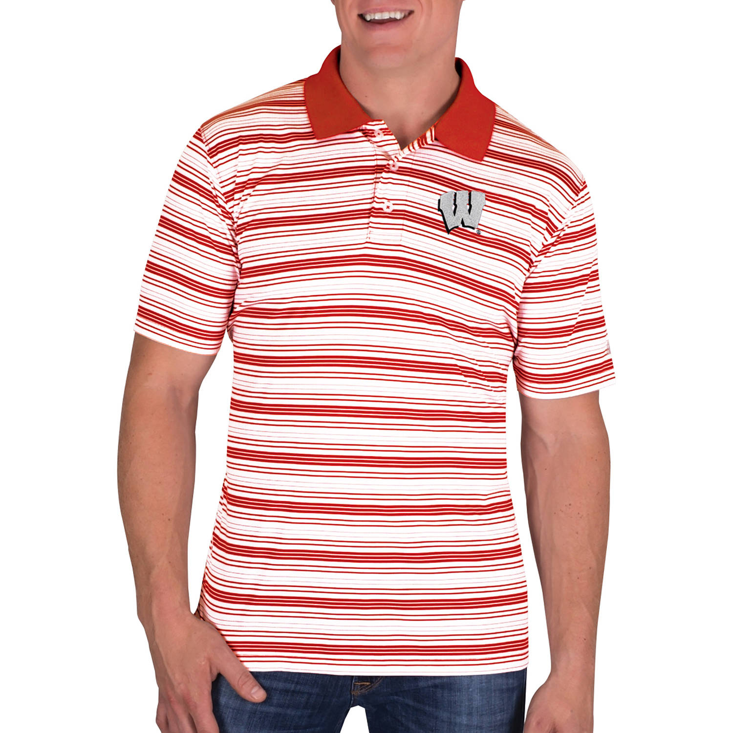 NCAA Wisconsin Badgers Men's Classic-Fit Striped Polo Shirt