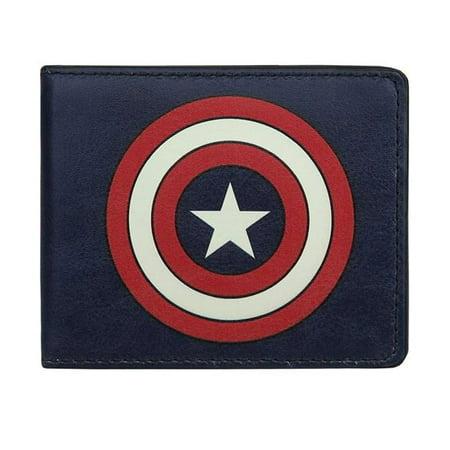Captain America wallcapshldnvy Captain America Shield Navy Bi-Fold Wallet