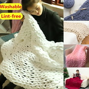 Washable & Lint-free Hand Chunky Knitted Blanket Thick Bulky Knitting Bed Sofa Throw Rug Multi-sizes
