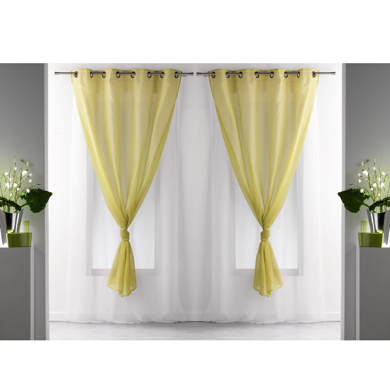 Set Of 2 Double Layered Sheer Curtain Panel Grommet Robin Walmart Com Walmart Com