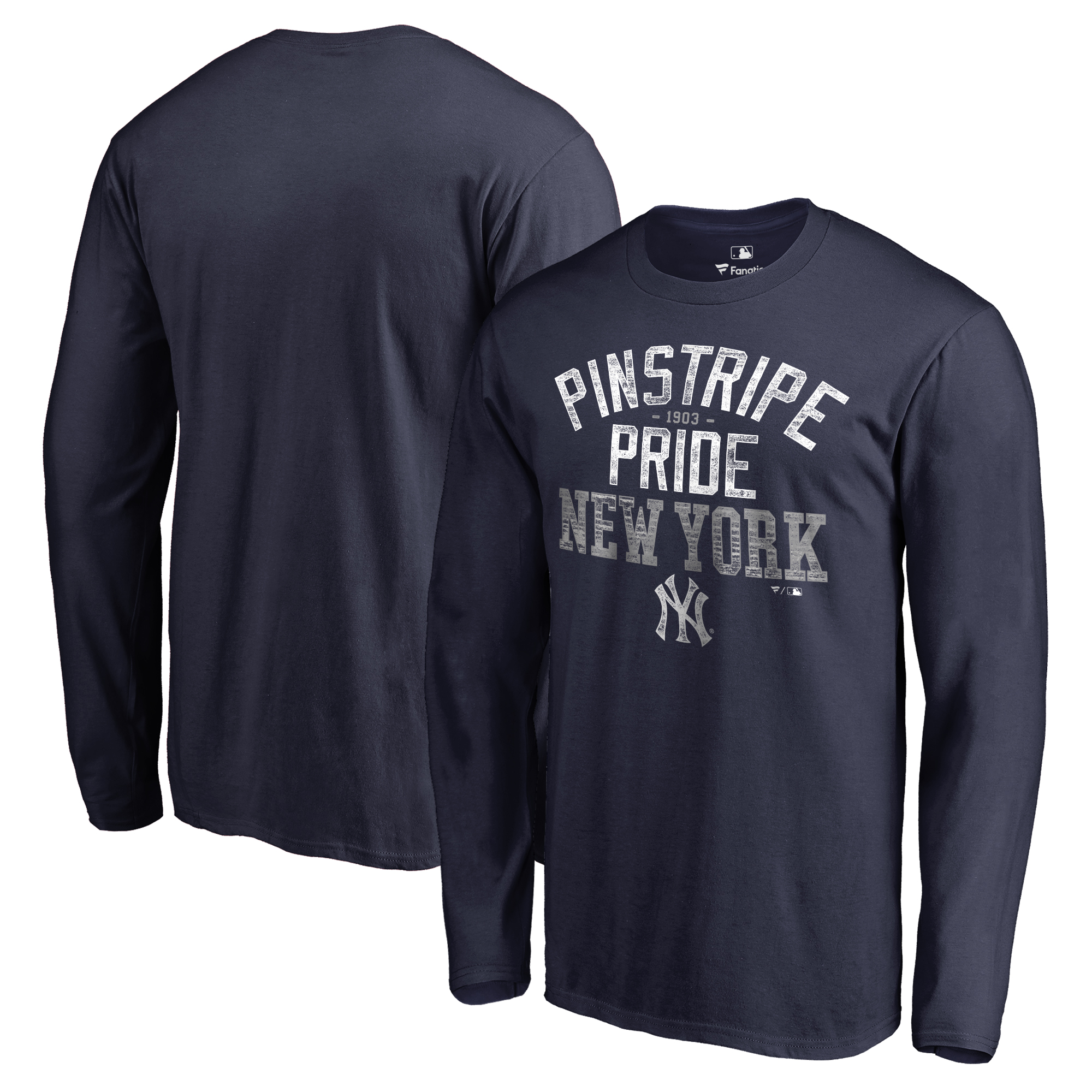 New York Yankees Fanatics Branded Big & Tall Pinstripe Pride Hometown Collection Long Sleeve T-Shirt - Navy