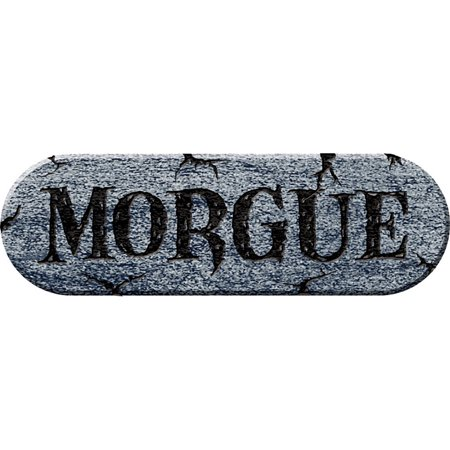 Morris Costumes Realistic Morgue Stone Look Etched Sign Foam Plaque, Style FM70842