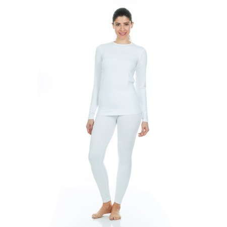 Argyle Thermal - Thermajane Women's Ultra Soft Thermal Underwear Long Johns Set With Fleece Lined (X-Small, White)