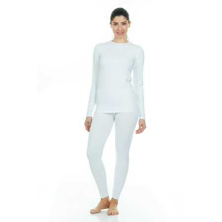Duofold Cotton Long Underwear - Thermajane Women's Ultra Soft Thermal Underwear Long Johns Set With Fleece Lined (X-Small, White)