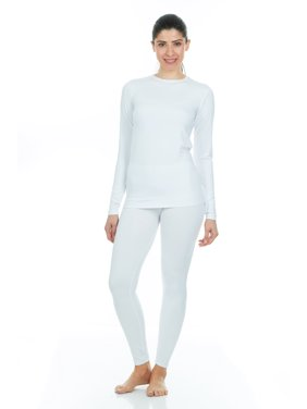 Thermajane Women's Ultra Soft Thermal Underwear Long Johns Set With Fleece Lined (X-Small, White)