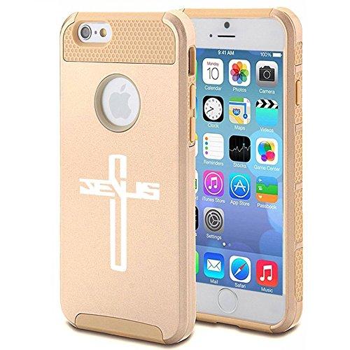Apple iPhone 6 Plus / 6s Plus Shockproof Impact Hard Case Cover Jesus Cross (Gold),MIP