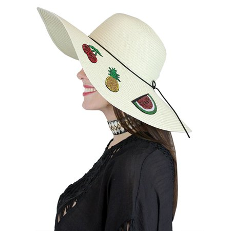 Fruit Patches Floppy Hat Sequined Wide Brim - Fruit Hat