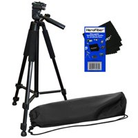 """60"""" Pro Lightweight Photo Tripod & Carrying Case for Canon EOS M Compact Systems Camera, EOS Rebel T1i, T2i, T3, T3i, T4i, T5, T5i, T6, T6i & SL1 Digital SLR Cameras w/ HeroFiber Cleaning Cloth"""