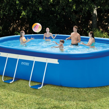 Intex 18 39 X 10 39 X 42 Oval Frame Above Ground Swimming Pool With Filter Pump