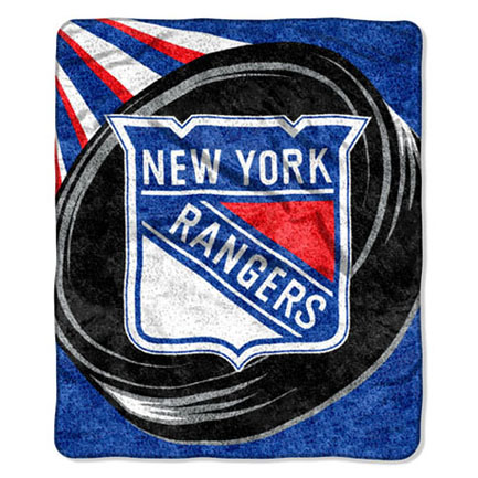 "NHL New York Rangers ""Puck"" 50"" x 60"" Sherpa Throw"