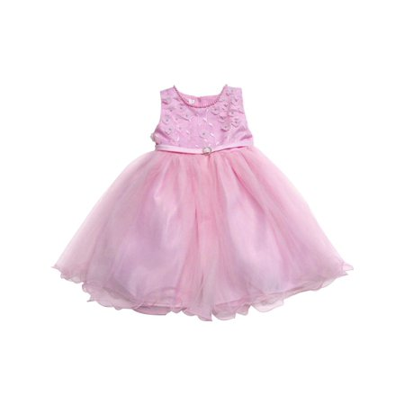a4cbb7f9c4fb8 S. Square - Baby Girls Pink Floral Appliques Accent Overlaid Flower Girl  Dress - Walmart.com