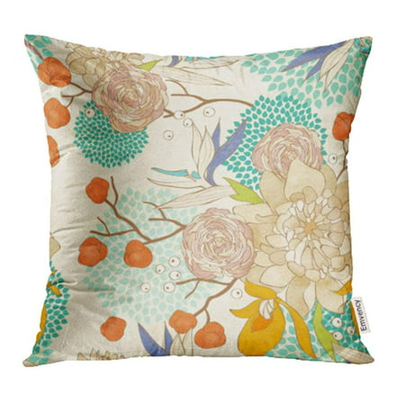 ARHOME Blue Japanese Floral Pattern on Flower Pretty Asian Peony Rose Flora Spring Pillow Case Pillow Cover 18x18 inch Throw Pillow Covers