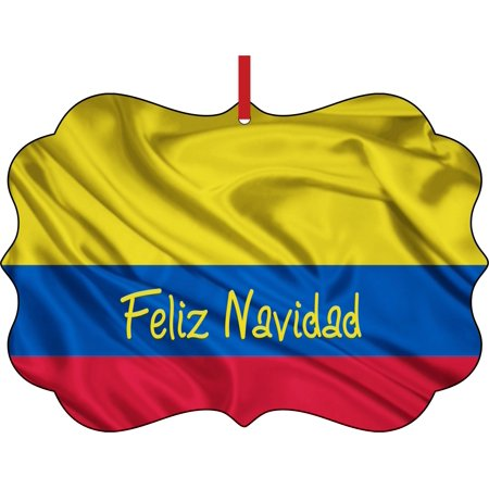 Flag Colombia Feliz Navidad Colombian Flag Elegant Semigloss Aluminum Christmas Ornament Tree Decoration - Unique Modern Novelty Tree Décor Favors for $<!---->