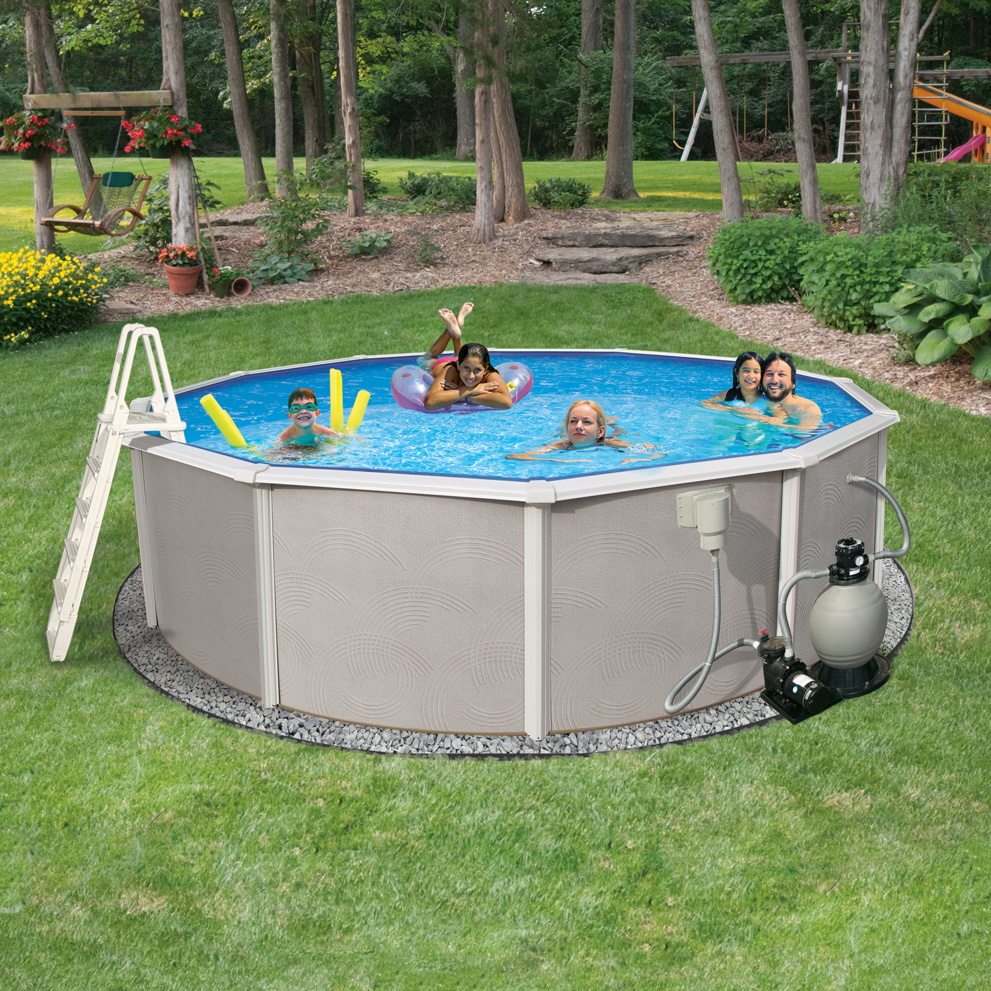 Blue Wave Belize 18-ft Round 52-in Deep 6-in Top Rail Metal Wall Swimming Pool Package