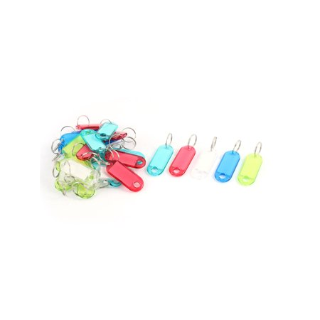 Unique Bargains 30 Pcs Assorted Color Plastic Key ID Name Label Tags Holder w Keyring Split Ring Durable Plastic Key Tag