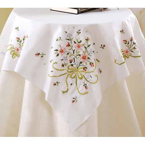 "Stamped Cross Stitch Table Topper 40"" x 40"", Bridal Bouquet"