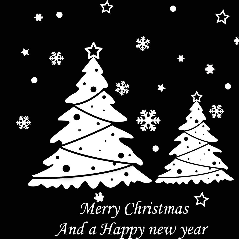 White Christmas Tree Christmas New Year Wall Sticker Amj001
