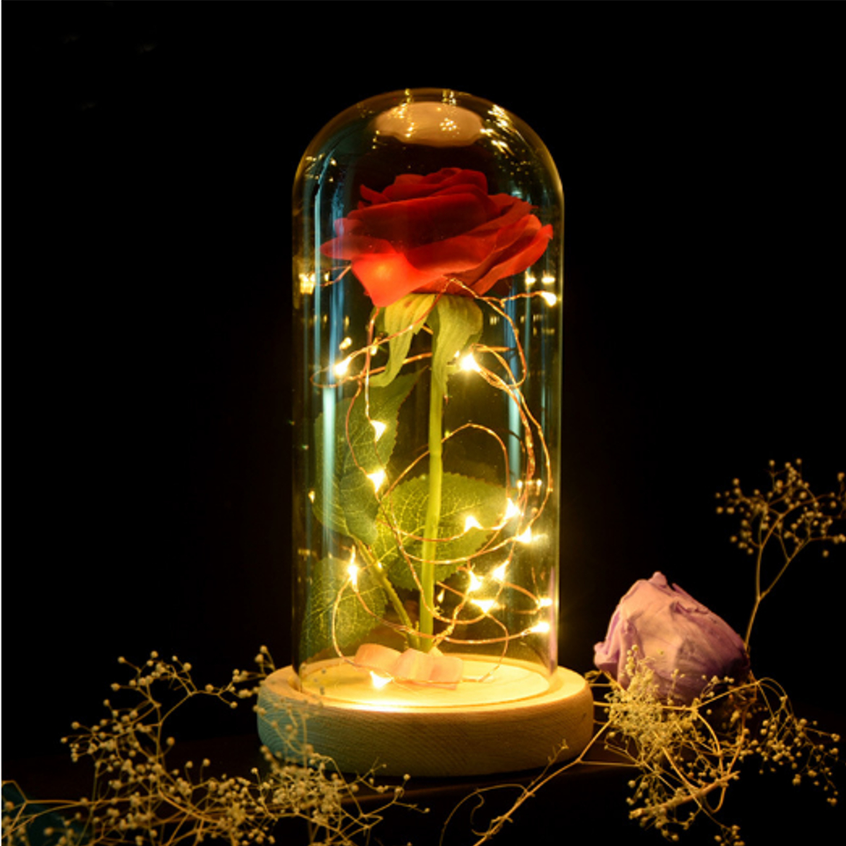 1Pcs Valentine's Day Beauty And Enchanted Preserved Fresh Red Rose The Beast Glass Cover + LED Light Unique Gifts, Log Base
