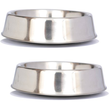 2-Pack Anti Ant Stainless Steel Non Skid Pet Bowl For Dog or Cat, 8 Oz, 1 Cup ()