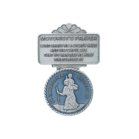 Saint Christopher Lead Free Pewter with Beautiful Blue Enamel Auto Visor Clip (VC-867), Pewter visor clip By (Enameled Clip)