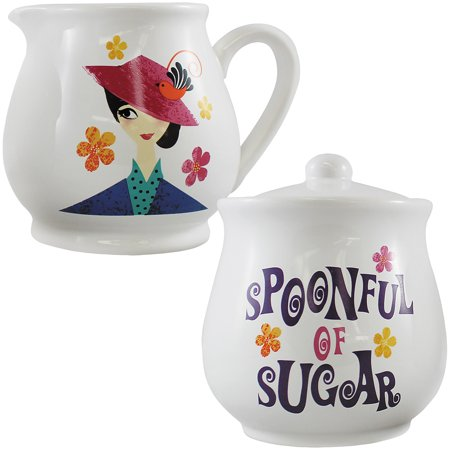 - Disney Mary Poppins Sugar Bowl And Creamer Set - Stoneware In Color Gift Box
