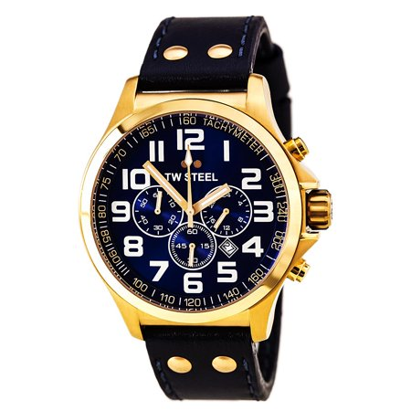 Blue Rose Pilot Dial Steel Leather Strap Men's Chronograph Tw406 Watch Gold Nnw0vm8