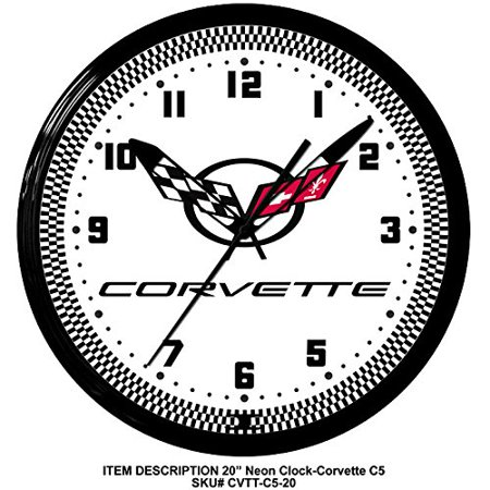 Corvette C5 Flags Genuine Vette Neon Wall Clock 20 Quot Made