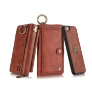 iPhone 6 Plus/ 6S Plus Wallet Case, Alleytech Girls Women Magnets Detachable Zipper Wallet Case Cover PU Leather Folio Flip Holster Carrying Case Card Holder for iPhone 6 Plus/6S Plus, brown