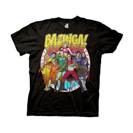 Big Bang Theory Bazing Group Comic Heros Photo Adult T-Shirt Black](Group Photo Clothing Ideas)
