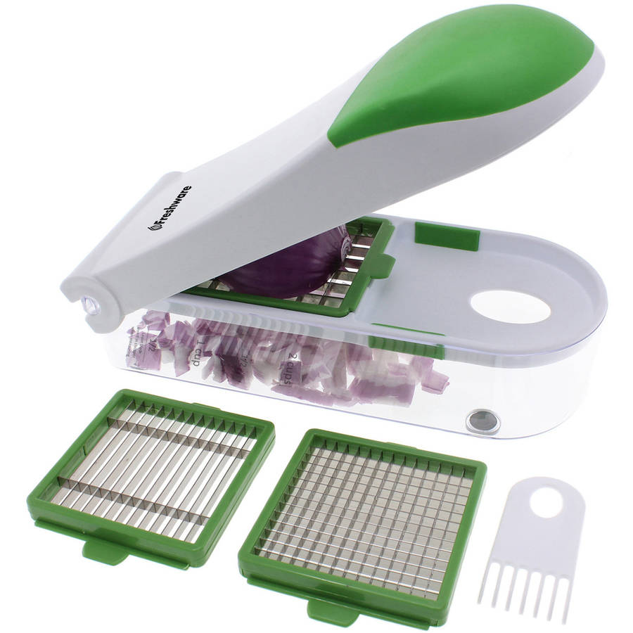 Freshware 3-in-1 Onion, Vegetable, Fruit and Cheese Chopper, Dark Green, KT-402