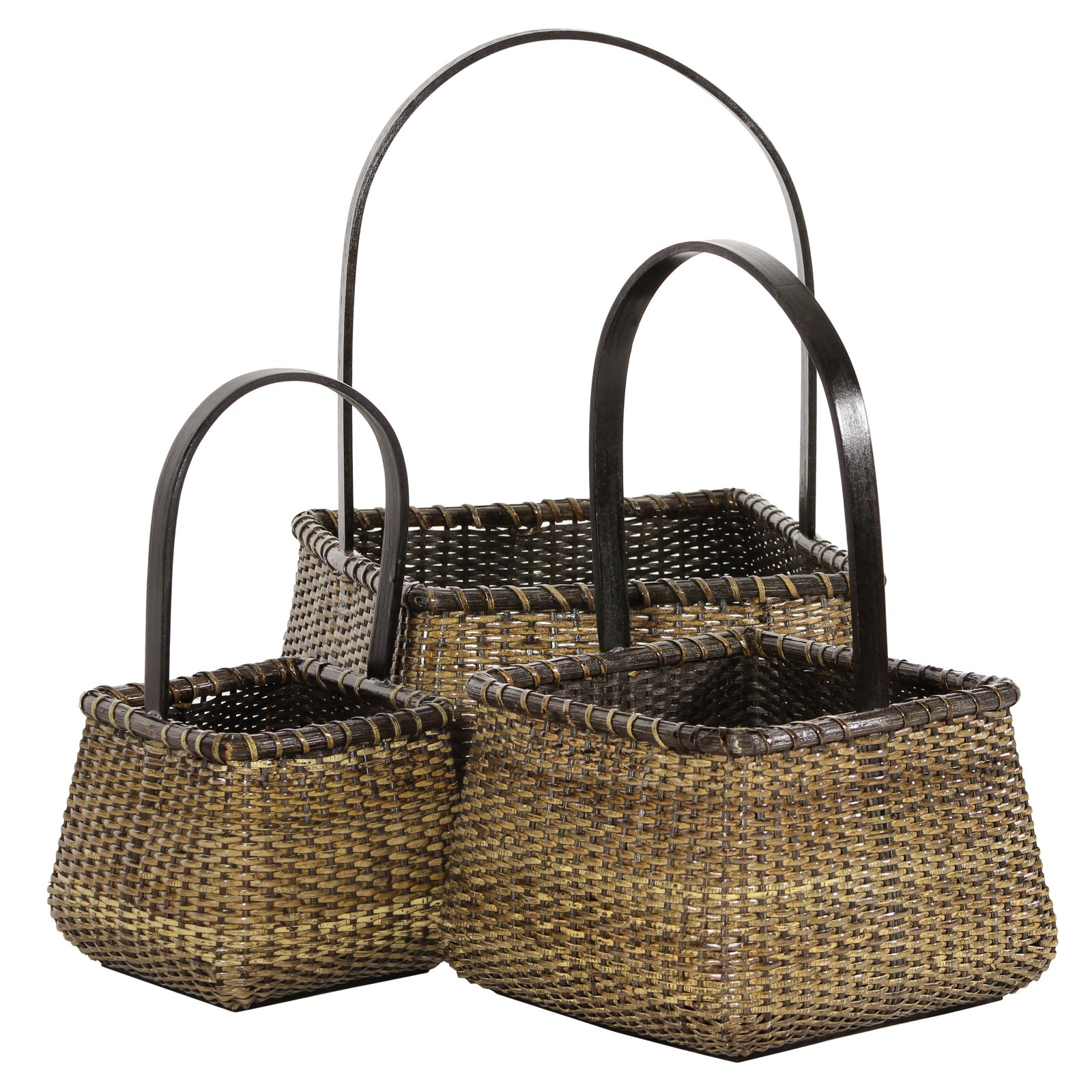 Oriental Furniture Rattan Basket with Handle - Set of 3