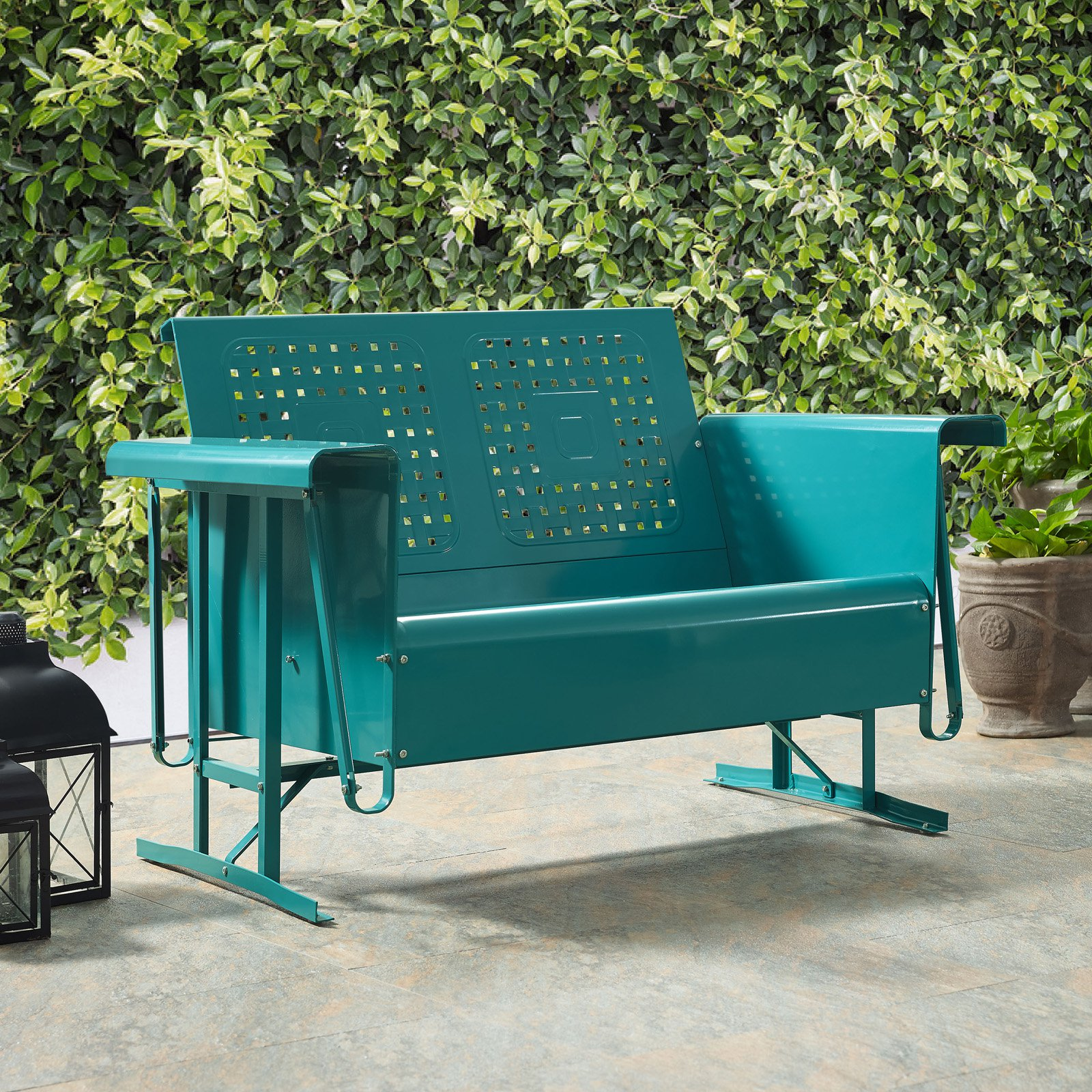Crosley Bates Loveseat Glider In Turquoise