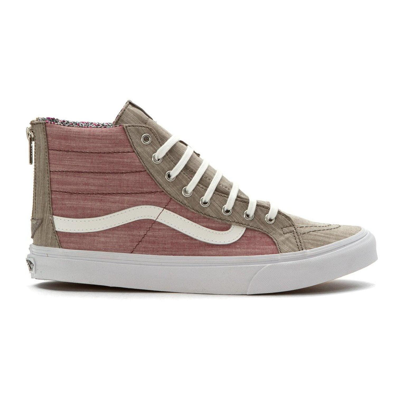 e52b364397dc39 VANS - Van s Unisex SK8-Hi Slim Zip Floral Chambray Sneakers-Floral Chambray  Gray - Walmart.com