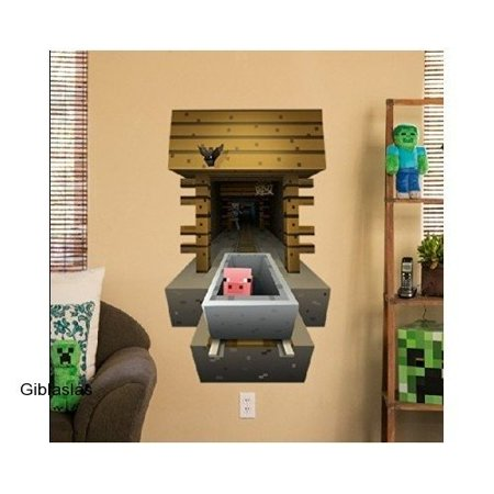 Minecraft - Pig in Minecart - 3D Vinyl Removable Wall Cling Decals Stickers - Minecraft Medieval Wall