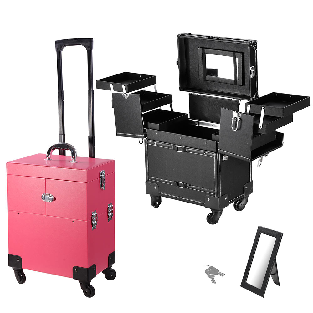 14X9X17inch PVC Lockable Rolling Makeup Cosmetic Train Case 360 Degree 4-Wheeled Box Artist with/ Keys