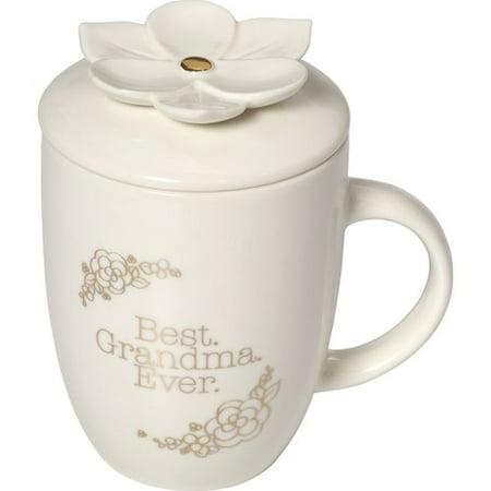 Precious Moments Best Grandma Ever Glazed Ceramic 16oz Coffee Mug With Lid