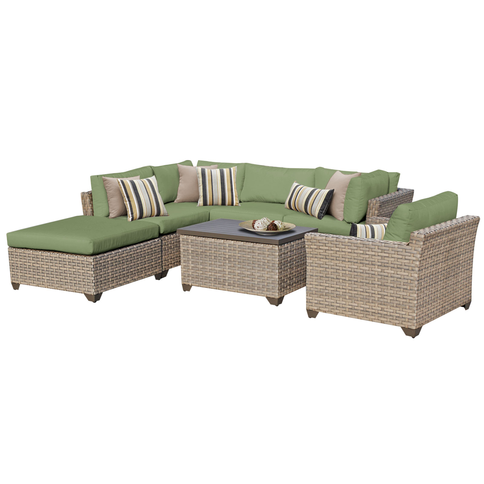 Hampton 7 Piece Outdoor Wicker Patio Furniture Set 07d by TK Classics