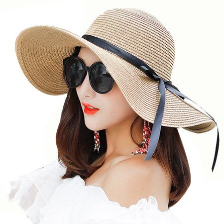 Beach Hat, Coxeer Travel Foldable Wide Brim Bowknot UV Protection Floppy Summer Cap Sun Hat for Women Girls - Cheap Sun Hats