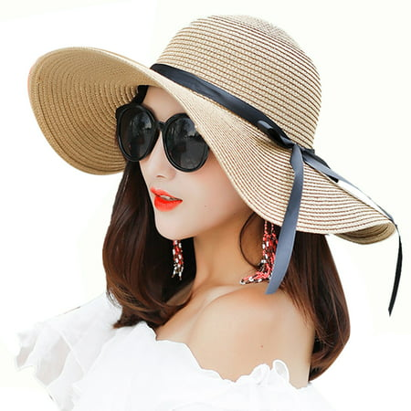 Beach Hat, Coxeer Travel Foldable Wide Brim Bowknot UV Protection Floppy Summer Cap Sun Hat for Women Girls Best Grandma Womens Cap