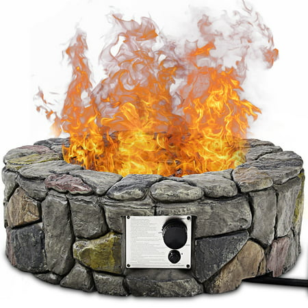 Costway 28'' Propane Gas Fire Pit Outdoor 40,000 BTUs Stone Finish Lava Rocks Cover ()