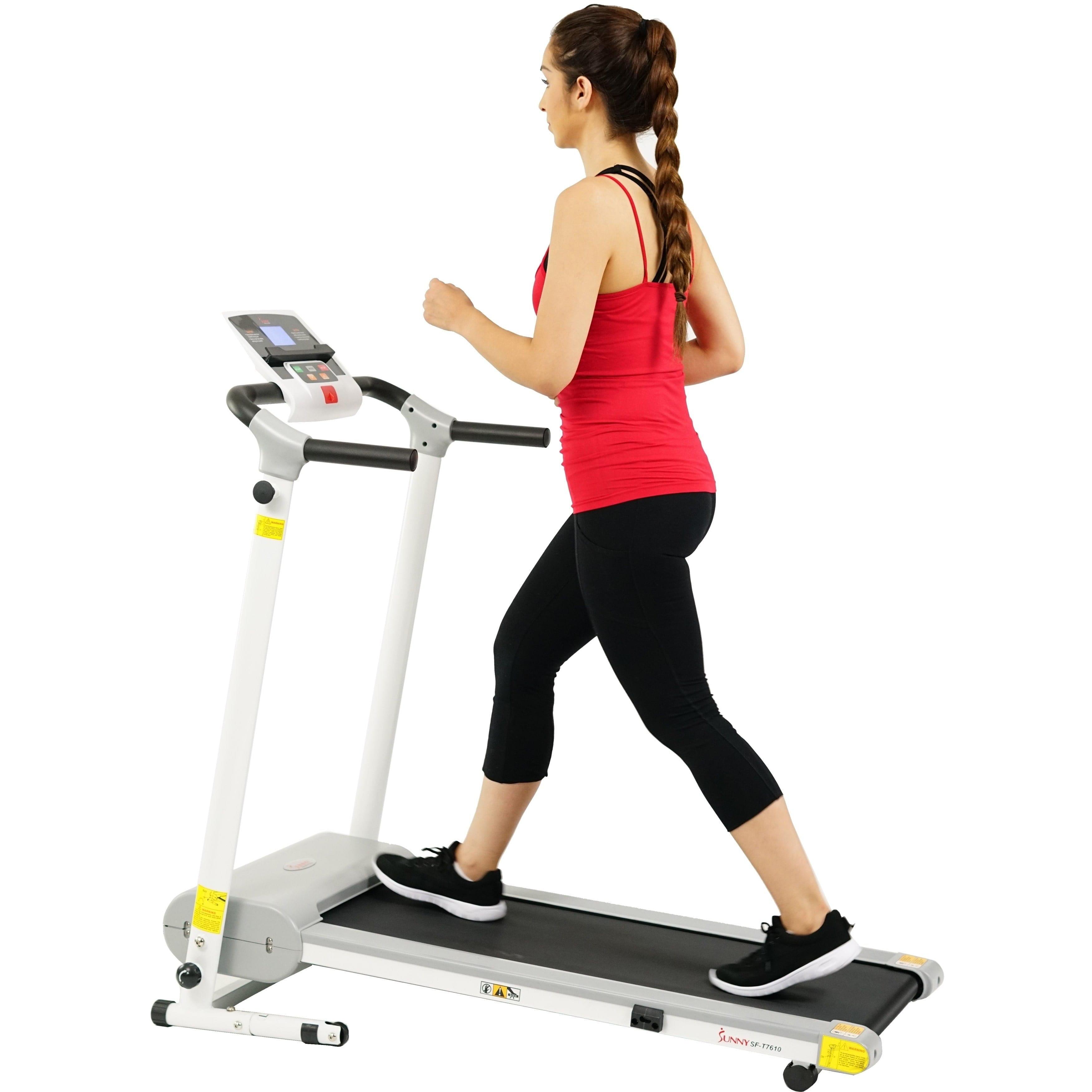 Sunny Health & Fitness Easy Assembly Motorized Folding Treadmill w  LCD Display White by Sunny Health Fitness