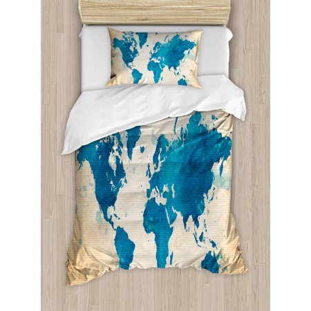 Map twin size duvet cover set artistic vintage world map with map twin size duvet cover set artistic vintage world map with watercolor brushstrokes on old backdrop gumiabroncs Choice Image