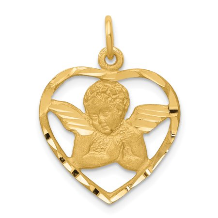 14k Yellow Gold Satin Cherub Angel In Open Heart Charm 24x18mm Crystal Open Heart Charm