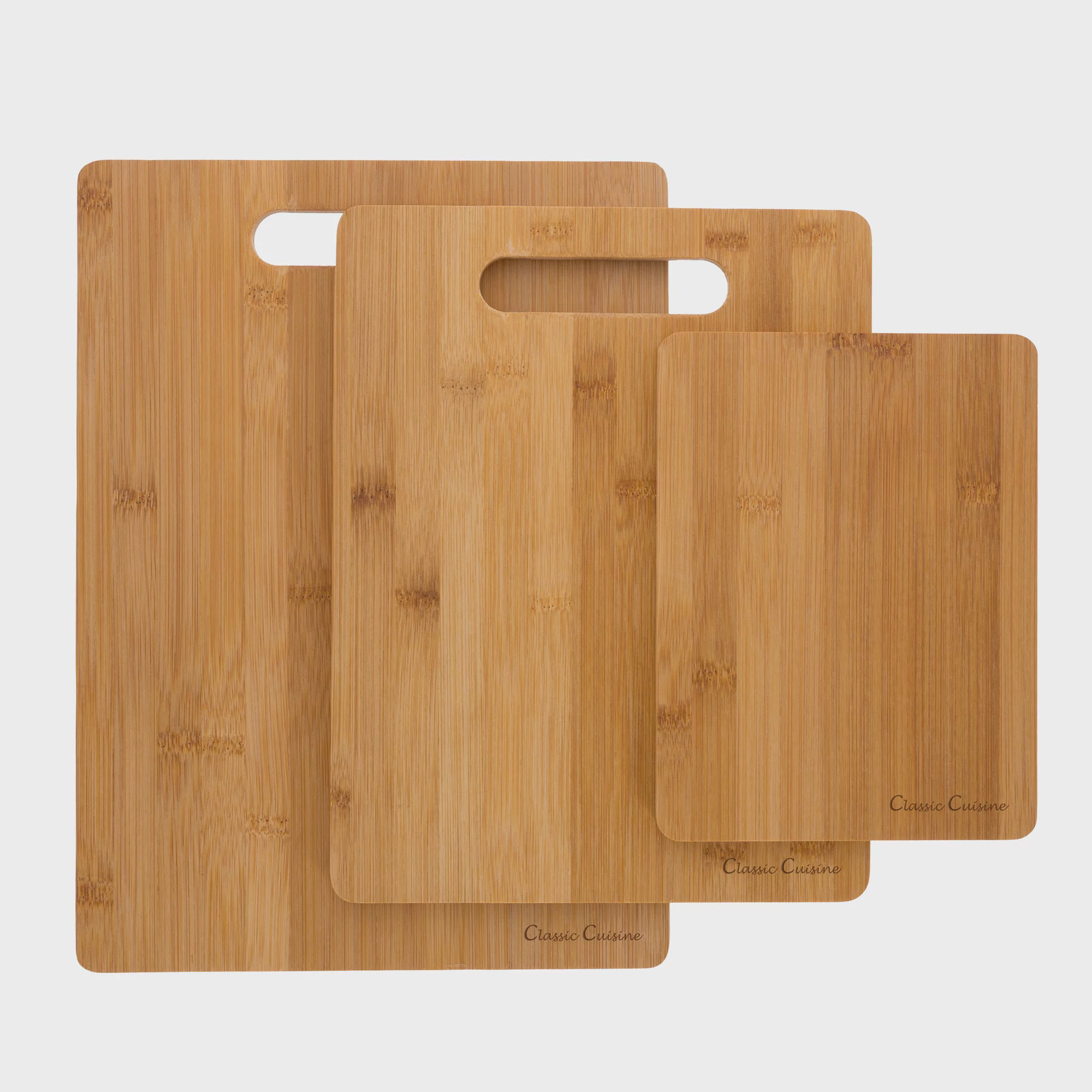 3 Piece Bamboo Cutting Board Set, Food Prep by Classic Cuisine by Trademark Global LLC