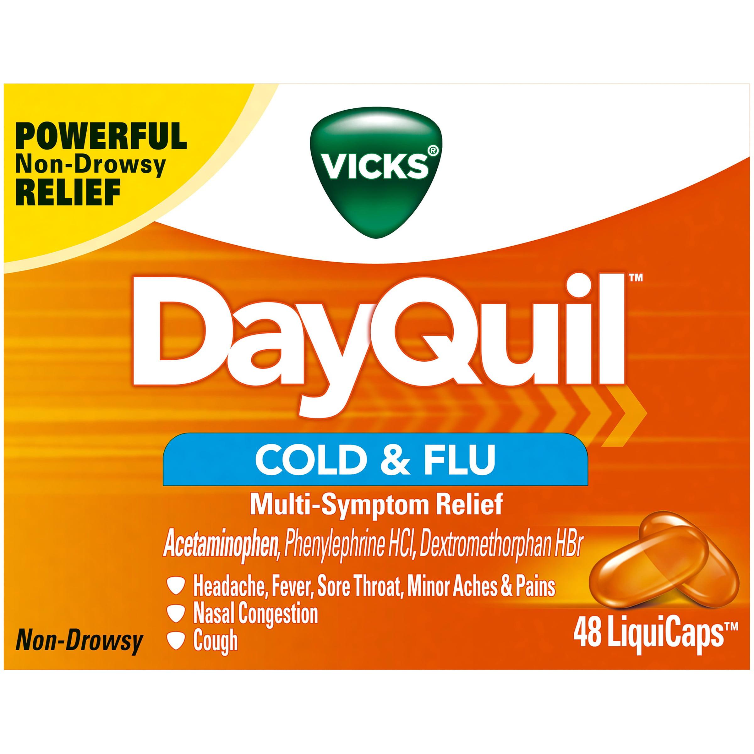Vicks® DayQuil™ Cold & Flu Multi-Symptom Relief LiquiCaps™ 48 ct Box