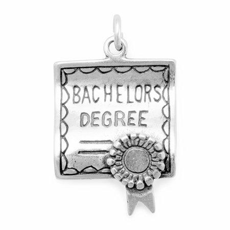 Bachelors Degree Graduation Charm 3D Sterling Silver